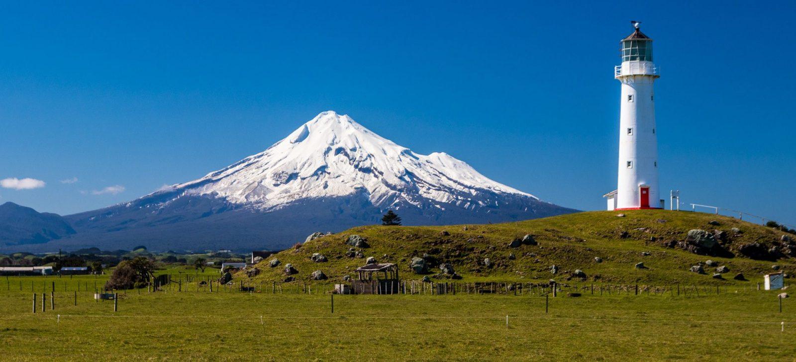 Pohled na horu Taranaki je impozantní z každého místa, odkud je na ni vidět